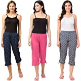 Fflirtygo Women's Cotton Capri for Women, 3/4th Night Pants for Women Combo of 3, 3/4th Pajama (Prints and Colours May Vary)