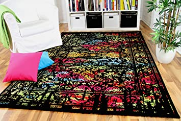 wohnzimmer designer gabbeh teppich vintage orient schwarz bunt ... - Wohnzimmer Orange Schwarz