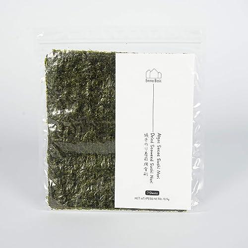 Alghe Sushi Nori - Giovani e croccanti | Top Grade | Leggermente tostata | Alghe ad alto contenuto di proteine e fibre | a basso contenuto di grassi saturi | (7 fogli)