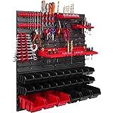 26 Stapelboxen, gereedschapshouder, wandrek, werkplaatsrek, gereedschapswand, 78 x 78 cm, gereedschapshouder, opslagsysteem,