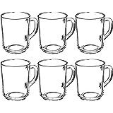 KADAX Lot de 6 verres à thé, à eau avec anse, verres en verre, verres à jus de fruits, pour thé, café, eau, boisson, thé glac