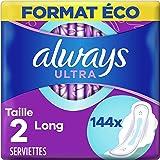 Always Ultra, Serviettes Hygiéniques Long, Taille 2 avec Ailettes, Super absorbantes et Ultra Fines, Format Eco x144 (12 pack