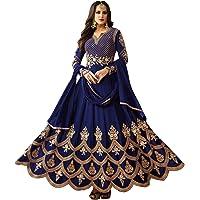 Fast Fashions Women's Taffeta Silk Semi Stitched Anarkali Floor Length Gown