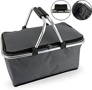 Cepewa Einkaufskorb faltbar Einkaufstasche 30 L Faltkorb Picknickkorb (grau ohne Thermofunktion)
