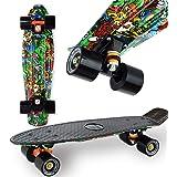 """WeLLIFE Skateboard Mini Cruiser RGX Multicolor Tavola Skate 22"""" 56cm per Giovani Ragazzi Adulti, Ruote PU 78A con Cuscinetti"""