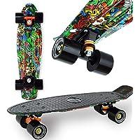 """WeLLIFE Skateboard Mini Cruiser RGX Multicolor Tavola Skate 22"""" 56cm per Giovani Ragazzi Adulti, Ruote PU 78A con…"""