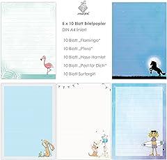 niedlicher BRIEFPAPIER-MIX 5 x 10 Blatt DIN A4 für Kinder mit Linien insg. 50 Blatt / Briefpapier Set Kinder / Briefpapier Mädchen, Briefpapier für Kinder