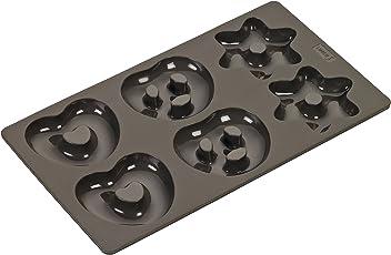 Lurch 65033 FlexiForm Lebkuchenform Brezeln Herzen Sterne 17 x 30 cm Silikon, braun