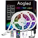 Aogled LED Strip 10M,Bluetooth LED Streifen mit APP Steuerung und 40-Tasten Fernbedienung, RGB LED Stripes mit Musiksynchroni