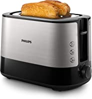 Philips HD2637/90 Toaster (7 Stufen, Brötchenaufsatz, Stopp-Taste, 1000 W) schwarz/edelstahl