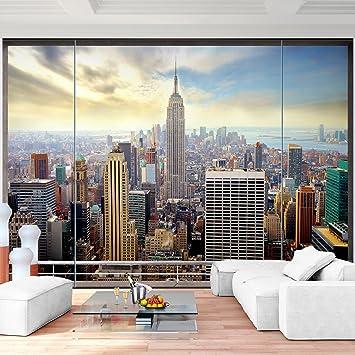 Fototapete fensterblick skyline  Fototapete Fenster nach New York 350 x 250 cm - Vliestapete ...