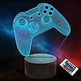 3D Gamepad Nachtlicht, Lightzz Game Console Illusionslampe mit Fernbedienung + Touch 16 Farbblinken Wechseln + Timer Schreibt
