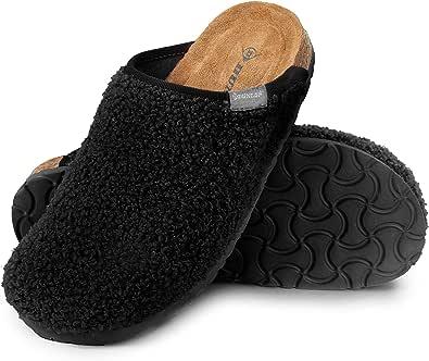 Dunlop Ciabatte Donna, Pantofole Invernali con Pelliccia, Babbucce Antiscivolo con Soletta Memory Foam, Ciabatta da Casa, Idea Regalo Compleanno E Natale
