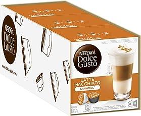 NESCAFÉ Dolce Gusto Latte Macchiato Caramel   Kaffeekapseln   Arabica Robusta Mischung   Feines Karamell Aroma und leckerer Milchschaum   Aromaversiegelte Kapseln   3er Pack (48 Kapseln) 506,40g