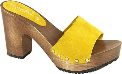 Silfer Shoes Zoccolo Donna - Made in Italy - Sandali Donna - Artigianale - Zoccolo in Vero Legno e Pelle di camoscio, Colore Giallo