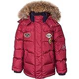 GULLIVER Chaqueta de plumón para niño, chaqueta de invierno roja con capucha de parche 7 años 10 años 122 128 cm 134 140 cm