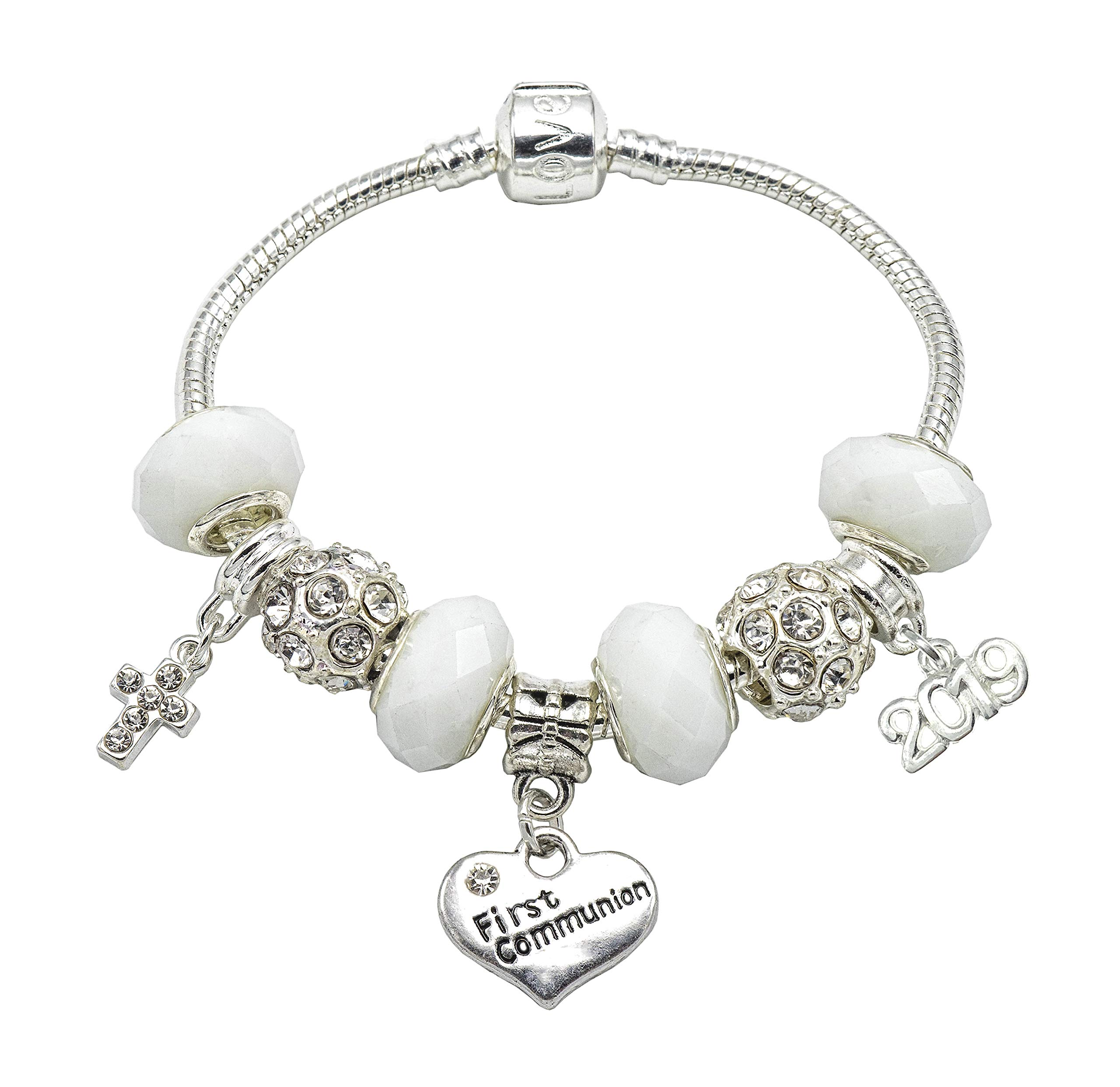 2018 Silver Plated First Holy Communion Charm Bracelet for Girls