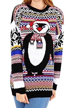 Ladies Womens Aztec Knitted Xmas Pom Pom Warm Jumper Fair Isle ...