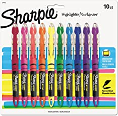 Sharpie Liquid Highlighters, Chisel Tip , 10 Count (Assorted Colours)