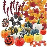Lot de 149 citrouilles artificielles pour décoration d'automne avec citrouille, feuilles d'érable, fruits riches, noix, gland