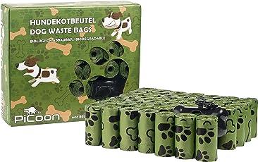 PiCoon Bio - Hundekotbeutel, 600 Stück, mit Beutelspender und Leinenclip, biologisch abbaubar, ökologisch, umweltfreundlich