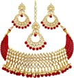 Sukkhi Incredible Gold Plated Wedding Jewellery Kundan Choker Necklace Set for women (N73502_D1)