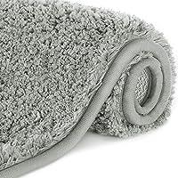 Lifewit Water Absorbent Bath Mat Non-slip Antibacterial Rubber Back, Grey Microfiber Bathroom Rug, 60 × 40 cm