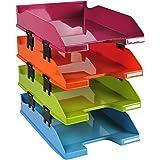 Exacompta - Réf. 113298SETD - Set de 4 corbeilles à courrier COMBO MIDI - dimensions 34,6x25,4x24,3 cm - pour documents au fo