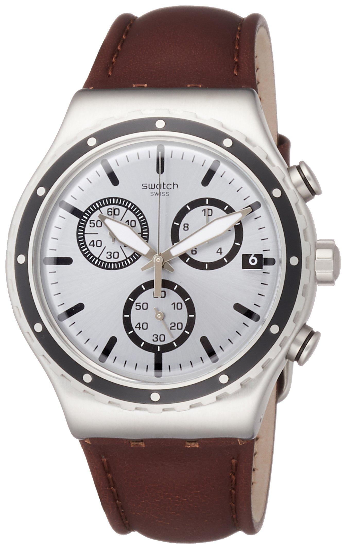 Swatch Herren Chronograph Quarz Uhr mit Leder Armband YVS437