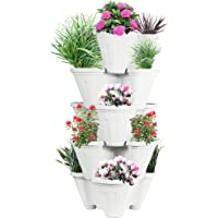 POTS4NATURE Sharpex Garden Stacking Vertical Plastic 5 Tier Indoor/Outdoor Gardening Tower Planter Pot for Fresh Herbs, Vegetable, Flower, Strawberry