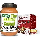 Zucchero 100% Natural Peanut Butter, Creamy, 2.5 kg (Combo Pack: Multigrain Box of 10 Bars Free)