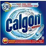 Calgon Powerball tabs,3 en 1 protection Anti-calcaire + résidus + odeurs , Le paquet de 17 tablettes (221g)