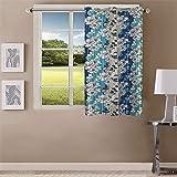 Queenzliving Garden County Curtain, Window 5 feet- Pack of 1, Blue