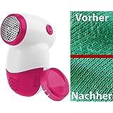 PEARL Fusselschneider: Mini-Fusselrasierer mit Metall-Flusengitter & Batterie, weiß/pink (Wollrasierer)