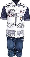 AJ Dezines Kids Party Wear Shirt and Shorts Clothing Set for Boys (683_WHITE_26)