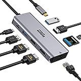 Hub USB C Dual HDMI, Adaptateur USB-C vers Double HDMI, Ethernet Gigabit, PD 100W, Port USB 3.0 et Lecture Carte SD/TF, Docki