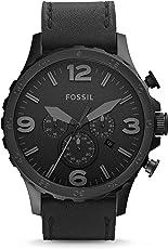 Fossil Herren Armbanduhr Nate - mit Lederarmband/Analoguhr mit Chronographen-Funktion & Datumsanzeige - 10 bar Wasserdichtigkeit