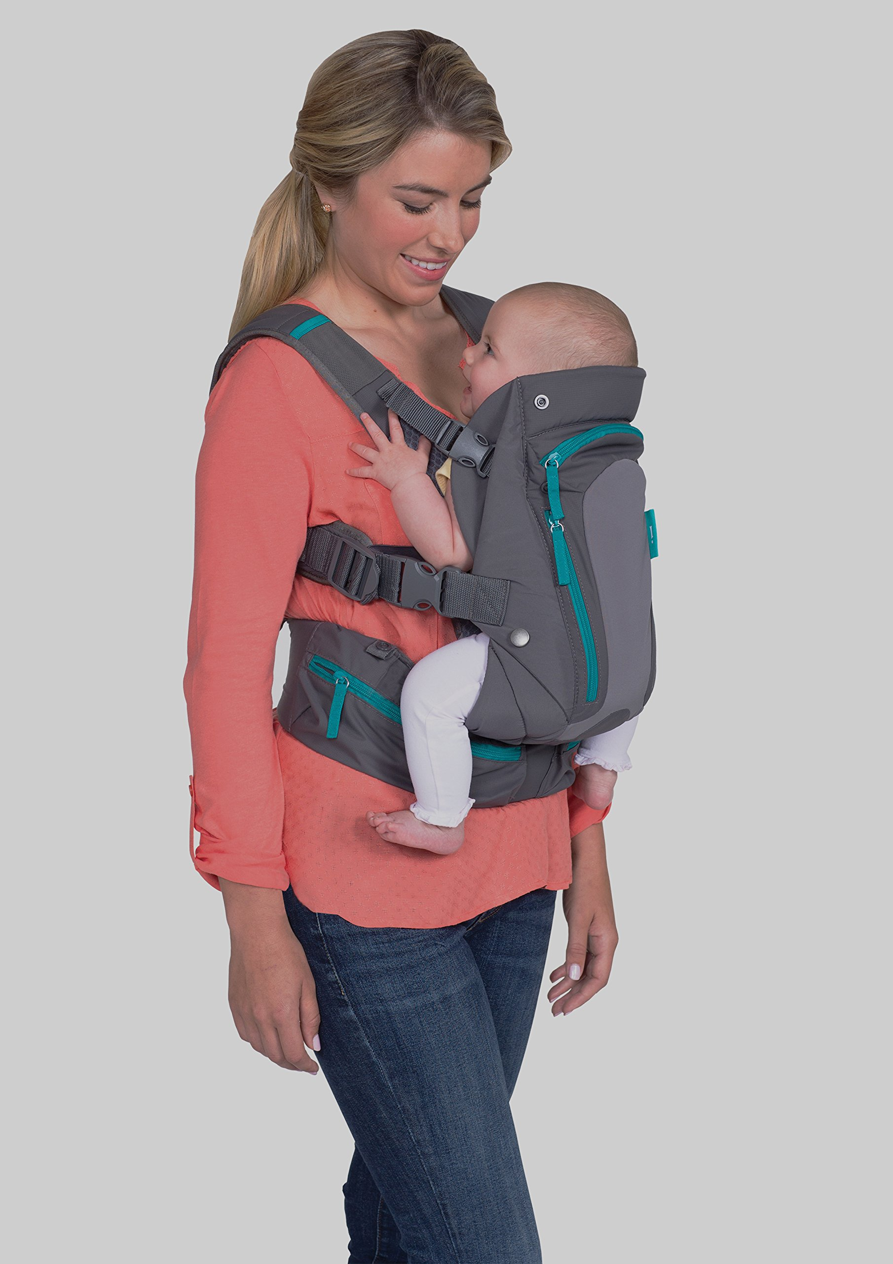 Infantino Carry On Carrier, Grey, One Size Infantino Fully safety tested 4 way carrier  with multiple storage pockets Facing in newborn & m position 3