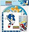 Verbetena, 016001417, pack jetable Sonic, 8 assiettes 23 cm, 8 verres et 20 serviettes