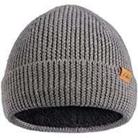 Warm Merino Wool Beanie with Polar Fleece for Men & Women, Soft Blend with Recycled Materials, Classic Unisex Cuffed…