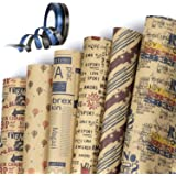 Papel de Regalo, Jolintek 6 Hojas Papel Para Envolver Regalos Papel Kraft con 2 Rollo Cinta, Retro Papel Kraft Papel Regalo C