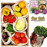 Premium Obst & Gemüsebeutel aus 100% Bio-Baumwolle & Feld für Etiketten 6er Set Obst & Gemüse beutel Mit Gewichtsangabe für Den Plastikfreien Nachhaltige Einkaufsnetze (2L   2M   1S   1 Brotbeutel)