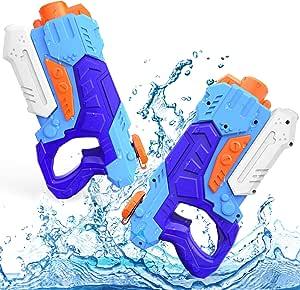Kiztoys&1 Pistola ad Acqua per Bambini, Confezione da 2 Potenti Pistole ad Acqua con 1200 ml di Rrande Capacità e 33 Piedi a Lungo Raggio per Sport Acquatici Estivi Garden Beach
