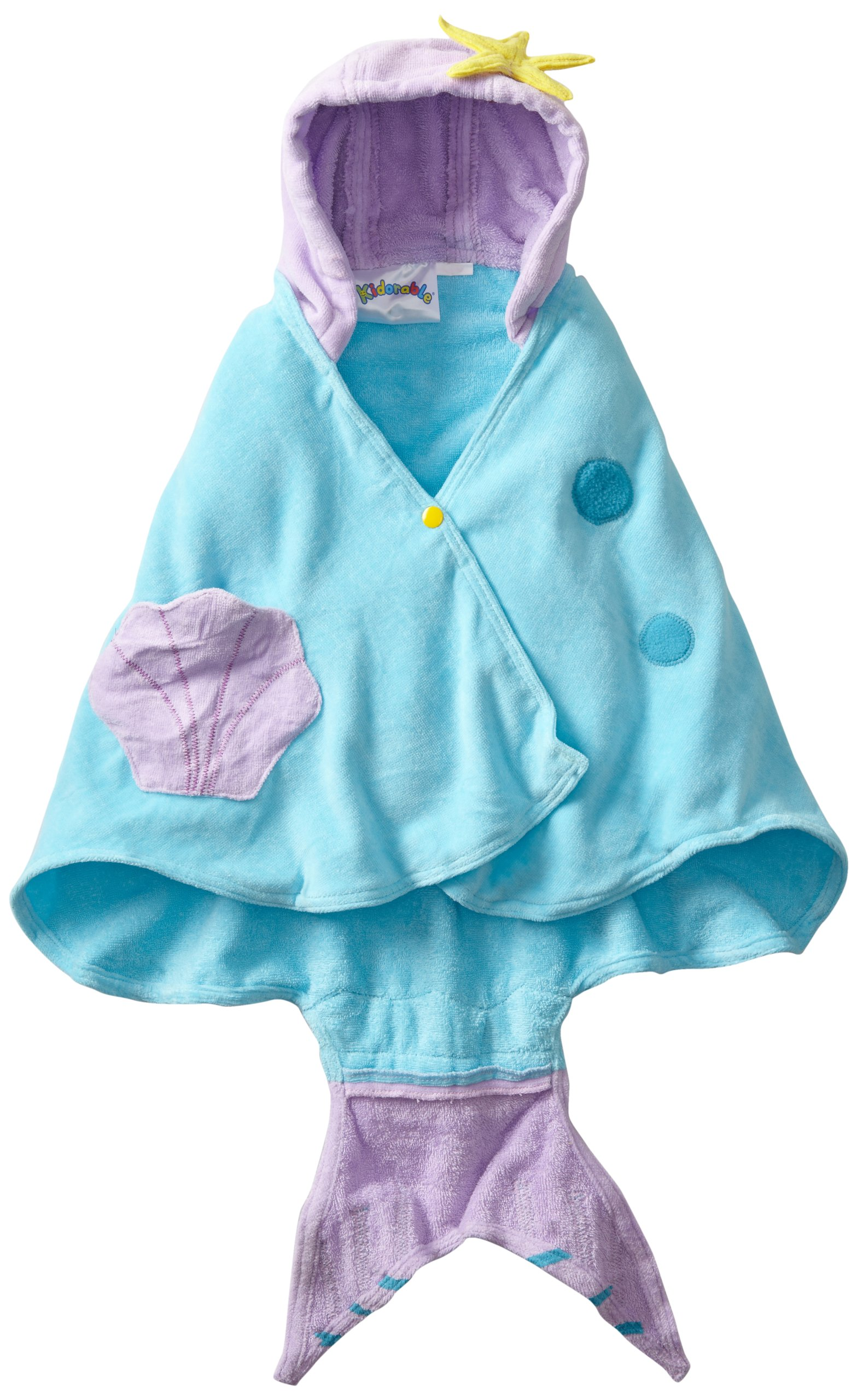 Kidorable - Toalla con capucha para niñas con cola de pescado y conchas 1