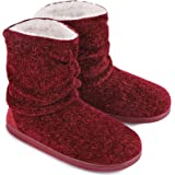 LongBay Ladies' Chenille Knit Warm Boots Slippers Soft Plush Fleece Booties Slipper Memory Foam Women Bootee Slippers House S
