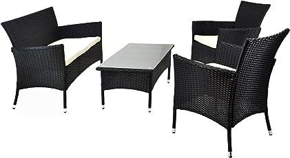 Nexos Rattan Set 4tlg mit Glastisch Weiß Garnitur Sitzgruppe Gartenmöbel Poly-Rattan 4-Teilig 4-sitzer