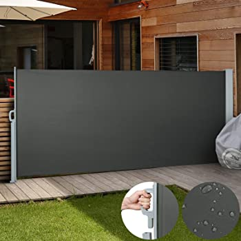 180x300CM Seitenmarkise Schwarz Polyester Sichtschutz Sonnenschutz Seitenrollo