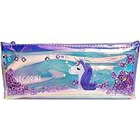 Arishto Unicorn Multipurpose Holographic Pencil Pouch/Case with filled Sequin Water (Purple)