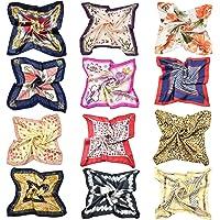 Tuopuda 6-12 Pcs Foulard Donna Quadrato Sciarpa di Seta Bandana Piccola Fazzoletti da Collo in Raso Multiuso Morbido…