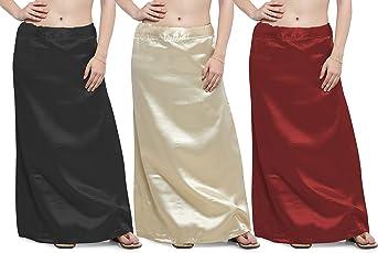 Ziya Combo of Black Khaki Maroon Premium Satin Petticoat with Attached Cotton Inner